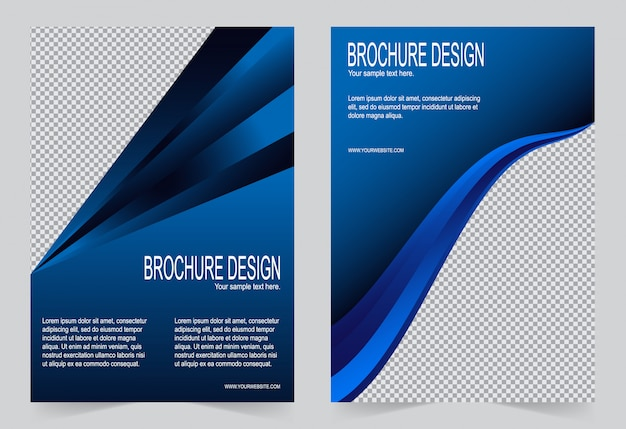 Brochure sjabloon, flyer ontwerp marine blauwe kleur sjabloon