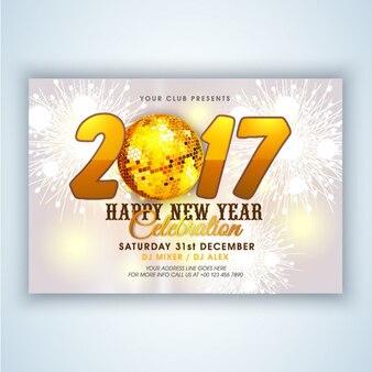 Brochure sjabloon met gouden elementen voor het nieuwe jaar