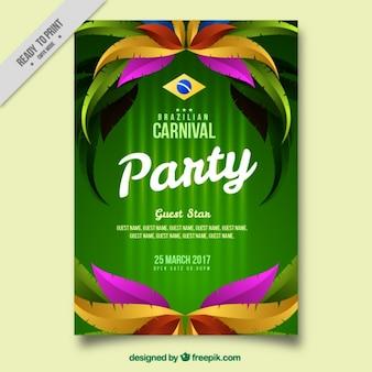 Brochure sjabloon met kleurrijke veren voor braziliaans carnaval
