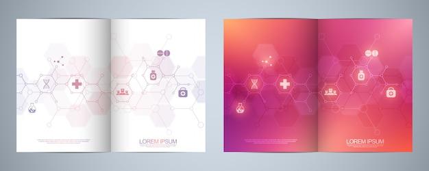 Brochure sjabloon met medische pictogrammen en symbolen. gezondheidszorg, wetenschap en geneeskunde technologie concept.