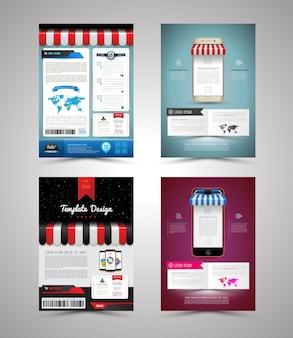 Brochure sjabloon ontwerp winkel stijl met smartphone set
