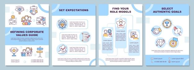 Brochure sjabloon voor bedrijfswaarden definiëren