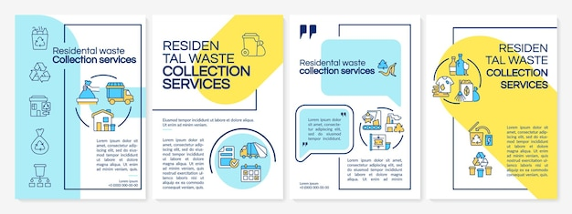 Brochure sjabloon voor huishoudelijk afvalbeheer. flyer, boekje, folder afdrukken, omslagontwerp met lineaire pictogrammen. vectorlay-outs voor presentatie, jaarverslagen, advertentiepagina's