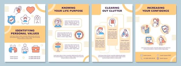 Brochure sjabloon voor persoonlijke waarden identificeren