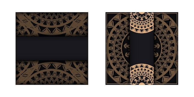 Brochure sjabloon zwarte kleur met bruin mandala-patroon