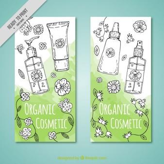 Brochure van de hand getekende ecologische cosmetica