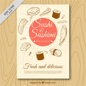 Brochure voor sushi en sashimi sketches