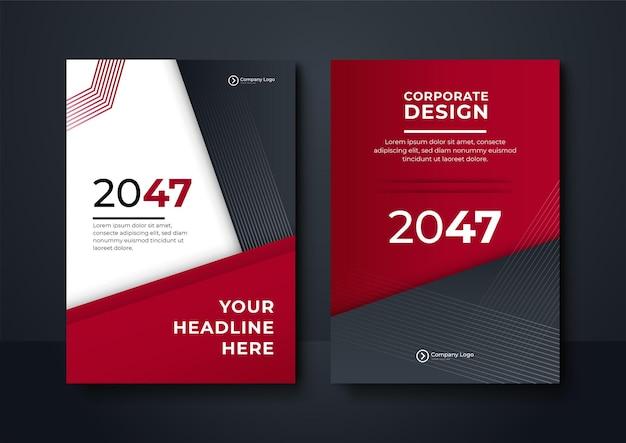 Brochure voorbladontwerpsjabloon met moderne golvende geometrische afbeeldingen. rode en blauwe geometrische achtergrond poster brochure flyer ontwerp lay-out vector sjabloon in a4-formaat