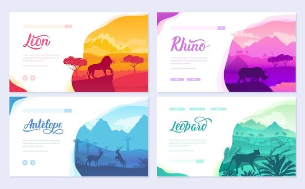 Brochures afrikaanse dieren in natuurlijke habitat. set flyers met dieren in het wild in de zonsondergang van de dag.