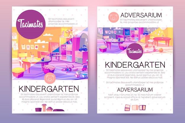 Brochures met cartoon kleuterschool voor kinderen, lesgeven in kleuterschool instelling.