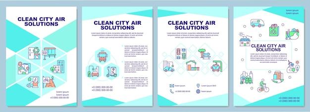 Brochuresjabloon voor schone stadsluchtoplossingen. luchtzuiveringssysteem. flyer, boekje, folder afdrukken, omslagontwerp met lineaire pictogrammen. vectorlay-outs voor presentatie, jaarverslagen, advertentiepagina's