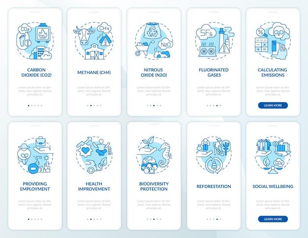 Broeikasgasemissies onboarding mobiele app paginascherm met concepten set