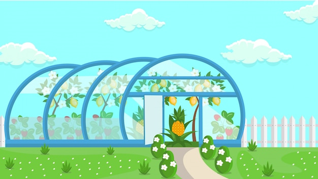 Broeikasgassen tropische vruchtenteelt illustratie