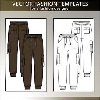 Broek mode platte schets sjabloon, cargobroek, voor- en achterkant