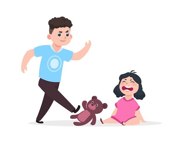 Broer en zus. huiselijk geweld, jongen beledigt meisje. geïsoleerde kleine baby huilt, boze man schopt speelgoed vectorillustratie. pesten zus, boze broer persoon