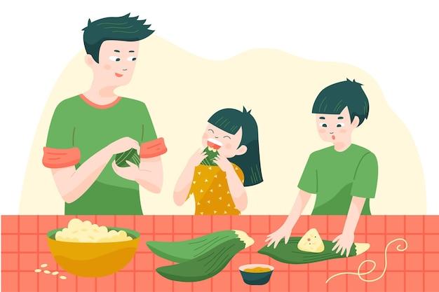 Broers en zussen en vader die zongzi voorbereiden en eten