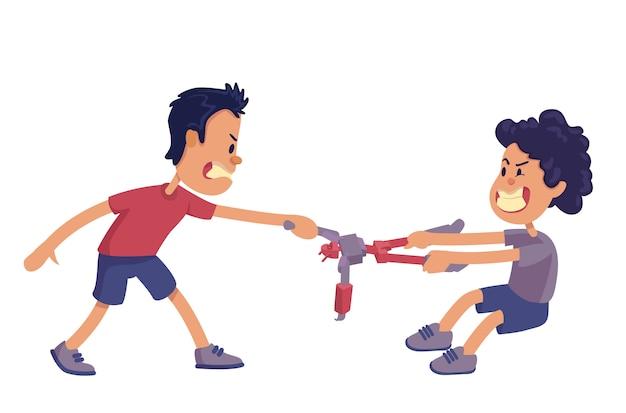 Broers en zussen rivaliteit cartoon afbeelding. broers schreeuwen en vechten om speelgoed. gebruiksklare tekensjabloon voor reclame, animatie, afdrukken. komische held