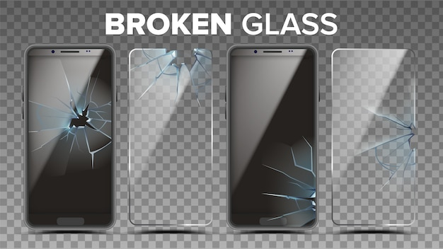 Broken glass phone screen protector set