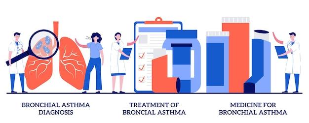 Bronchiale astma diagnose, behandeling en geneeskunde. set van aandoeningen van de luchtwegen, kortademigheid Premium Vector