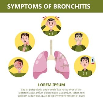 Bronchitis symptomen infographic. chronische ziekte. hoesten, vermoeidheid