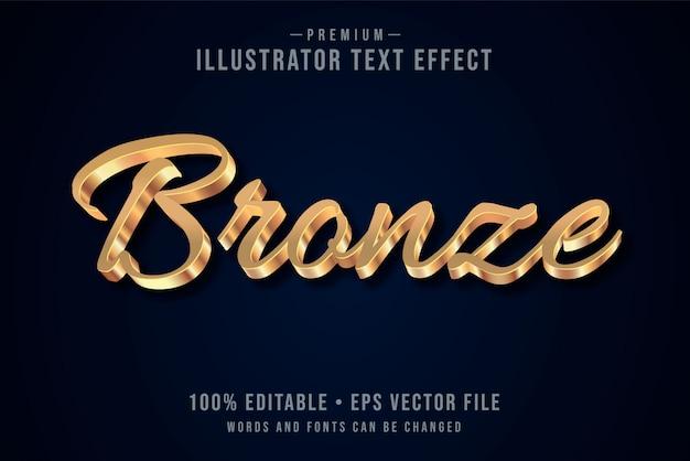 Brons bewerkbaar 3d-teksteffect of grafische stijl met metalen verloop