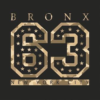 Bronx, new york. ontwerp kleding met camouflage, t-shirts. sportafbeeldingen met nummer om af te drukken. vector illustratie.
