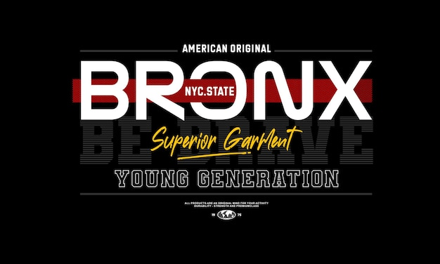 Bronx superieure kledingstuk typografie premium vector