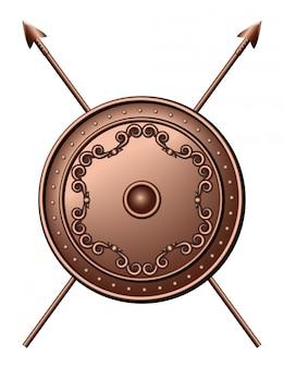 Bronzen scutum en gekruiste speren. escudo