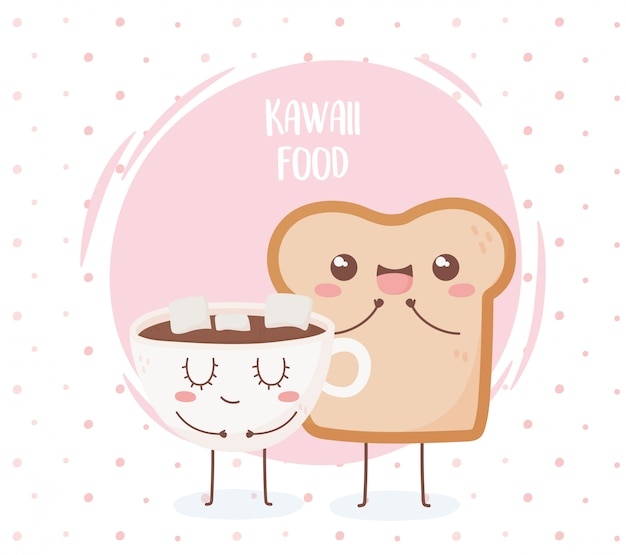Brood en chocolade cup met marshmallow kawaii voedsel cartoon characterdesign