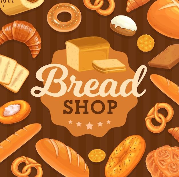 Brood en gebak poster. bakkerijbrood of stokbrood, gesneden pullmanbrood, bagel en krakeling met sesamzaad, zoet broodje met glazuur, focaccia, crackerkoekje en croissant. bakkerij