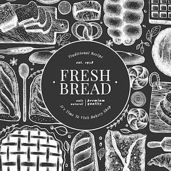 Brood en gebak. vector bakkerij hand getekende illustratie op schoolbord. vintage ontwerpsjabloon.