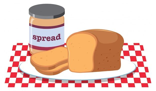 Brood en pindakaas verspreid