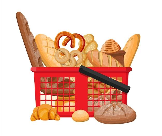 Brood en winkelmandje geïsoleerd op wit