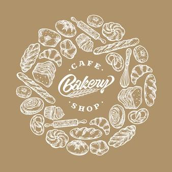 Brood, gebakken producten, gebak, cirkel sjabloon frame doodle vintage illustratie op wit.