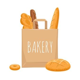 Brood in een papieren zak. bakkerijproducten.