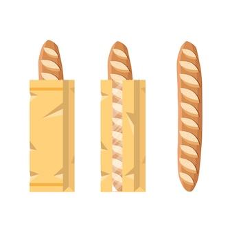 Brood in een papieren zak. verpakt frans stokbrood, brood