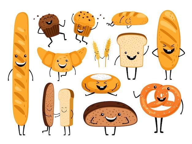 Brood karakters. grappige smakelijke bakkerijgebakjes, cartoon happy breads gezichten tekenset, kawaii croissant en gebak, schattige chocolademuffin en stokbrooduitdrukking