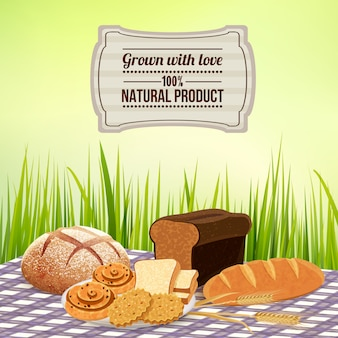 Brood met zelfgemaakte natuurlijke productsjabloon