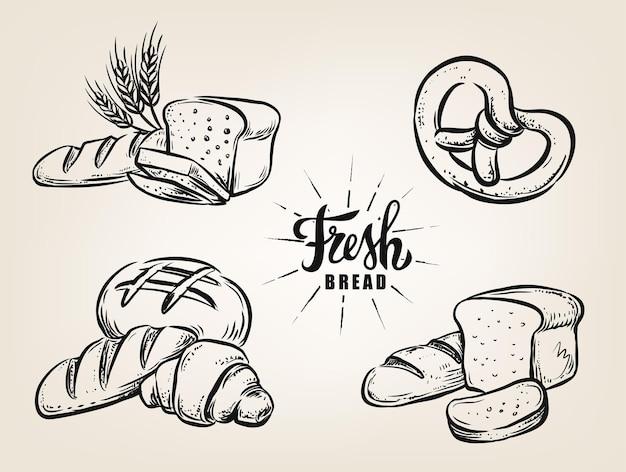 Brood schetst hand tekenen vintage stijl
