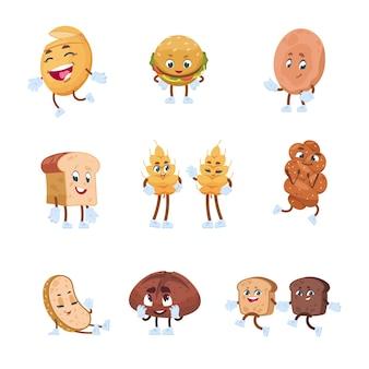 Brood stripfiguren. bakkerijset met leuke grappige smileygezichten, toastbrood, bagelmuffin en bakkerijgebak. vector brood met leuke uitdrukkingen gezicht