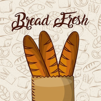 Brood vers stokbrood in papieren zak bakkerij achtergrond