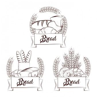 Brood verse set croissant stokbrood hele donut krakeling banner vintage