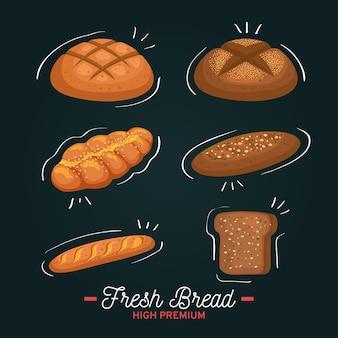 Brood wit en met granen set bakkerij geïsoleerde stijl, food shop ontbijt thema illustratie