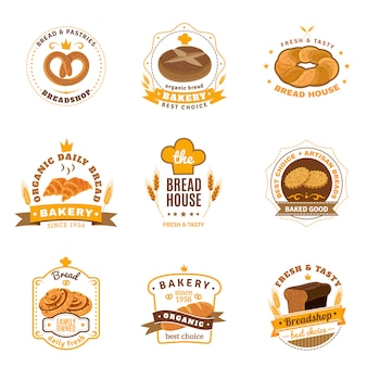 Broodbakkerij emblemen vlakke pictogrammen instellen