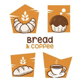 Broodje en koffie logo ontwerp inspiratie