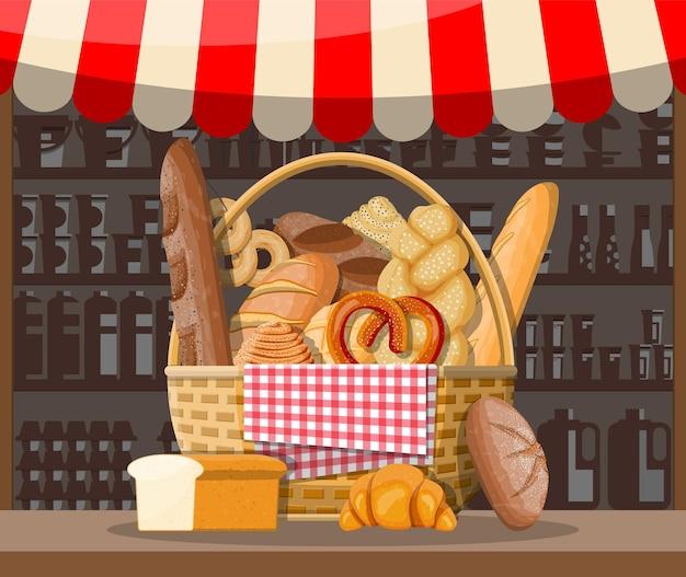 Broodproducten en marktkraam