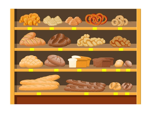 Broodproducten in winkelcentrum supermarkt interieur. volkoren-, tarwe- en roggebrood, toast, krakeling, ciabatta, croissant, bagel, stokbrood, kaneelbroodje.