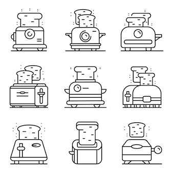 Broodrooster pictogrammen instellen. overzicht set broodrooster vector iconen