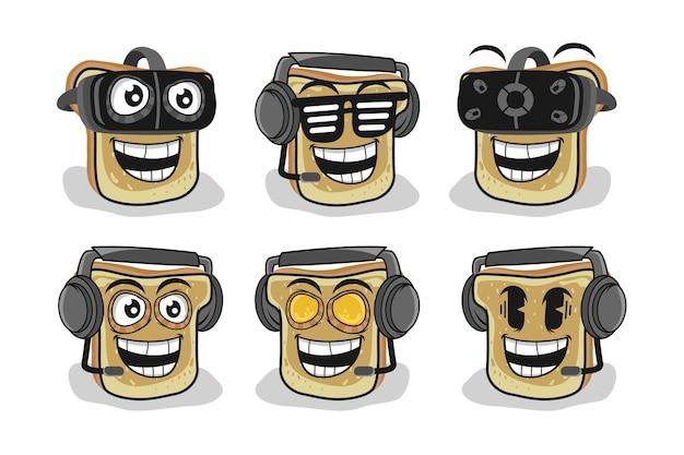 Broodschijf gebruik vr-spel en hoofdtelefoon-tekenset illustratie