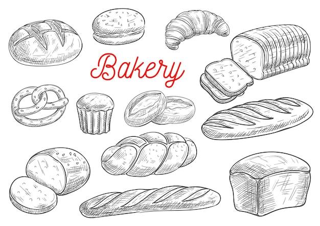 Broodsoorten en bakkerijproducten op wit wordt geïsoleerd